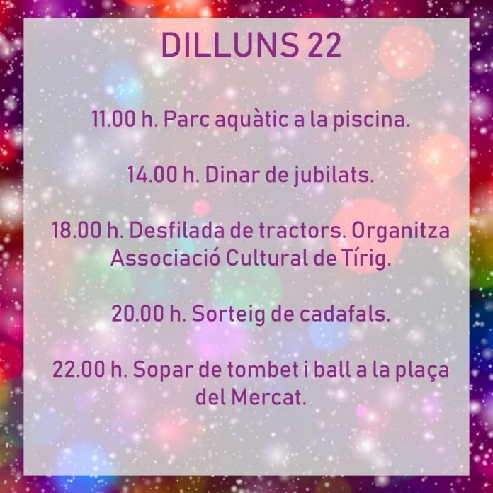 FESTES TÍRIG DILLUNS 22