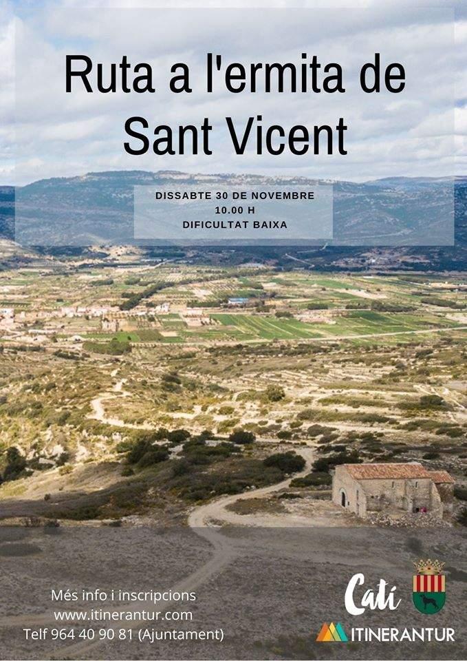 Cartell de la ruta a l'ermita de Sant Vicent de Catí
