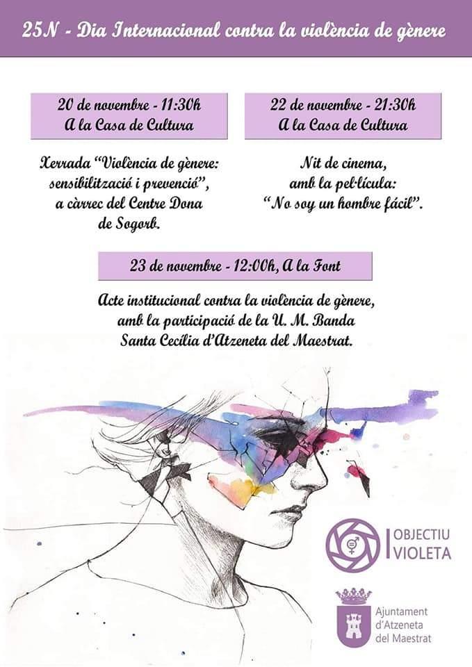 Cartell de la commemoració del Dia contra la violència de gènere a Atzeneta