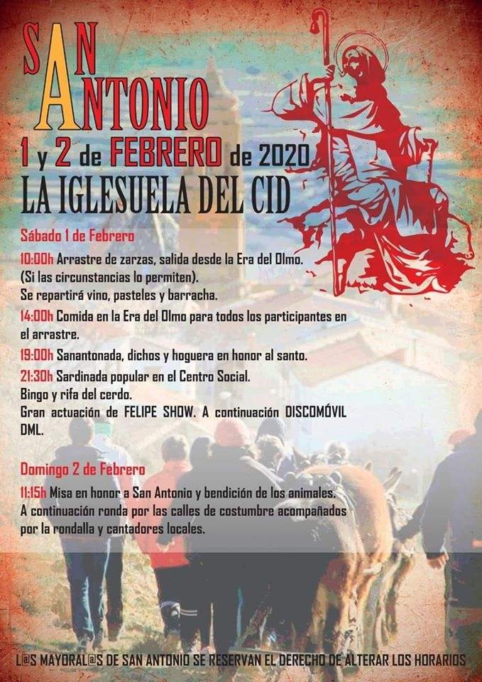Cartel de San Antonio en La Iglesuela del Cid