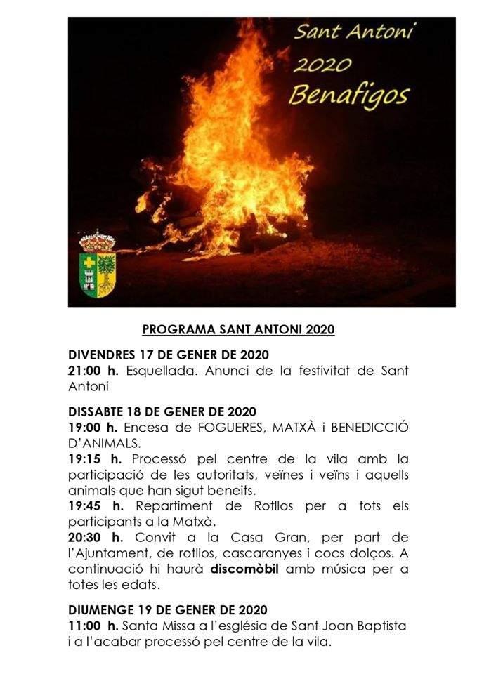 Cartell de Sant Antoni 2020 a Benafigos