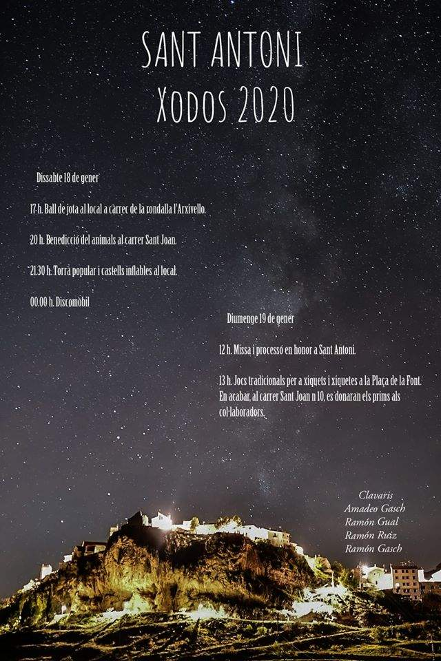 Cartell de Sant Antoni 2020 a Xodos