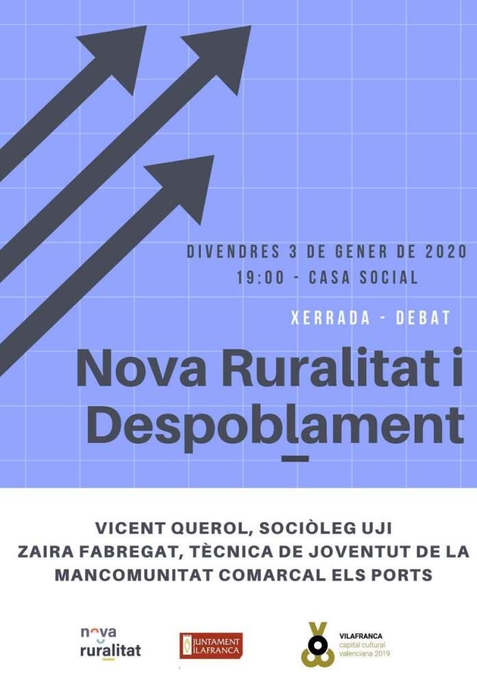 Cartell de la xarrada-debat sobre Nova Ruralitat i Despoblament a Vilafranca