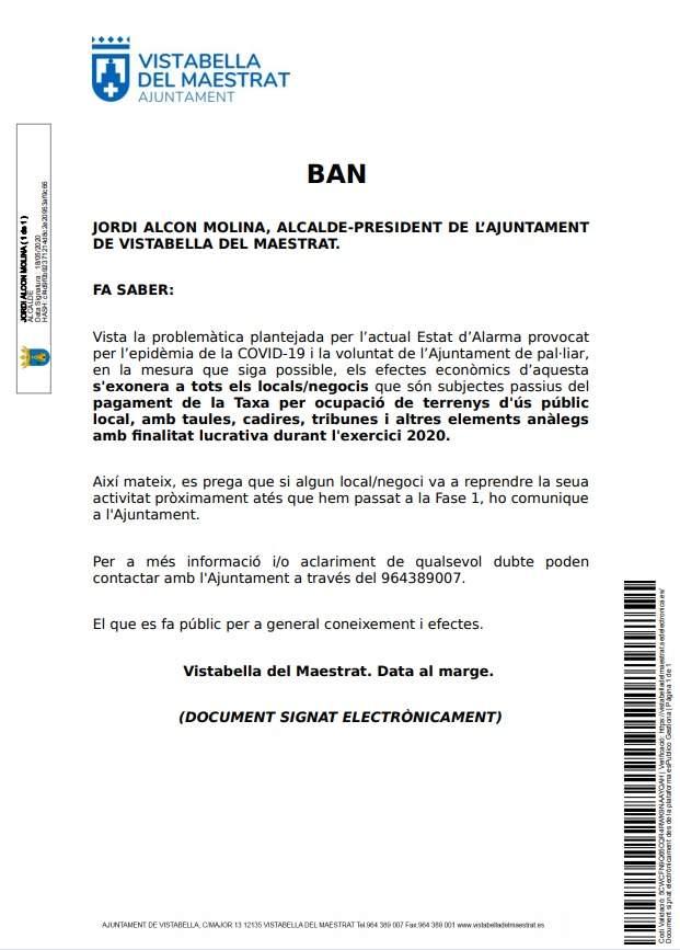 Ban municipal de Vistabella del Maestrat