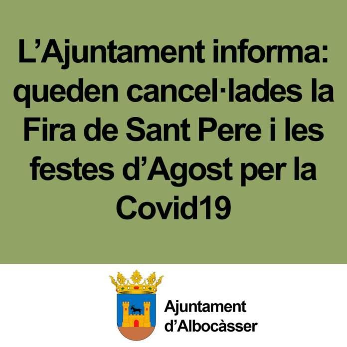 Albocàsser cancel·la la fira de Sant Pere i les festes d'Agost