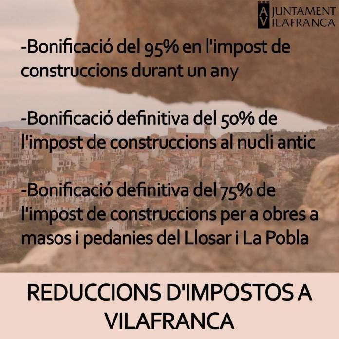 Reduccions d'impostos a Vilafranca