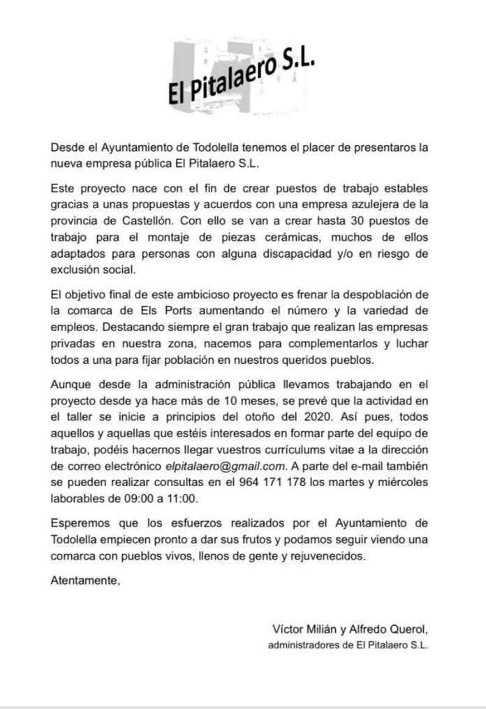 Carta dels administradors de El Pitalaero