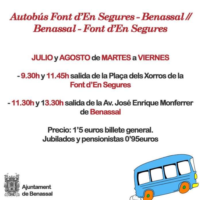 Horaris autobús Font d'en Segures - Benassal 2020