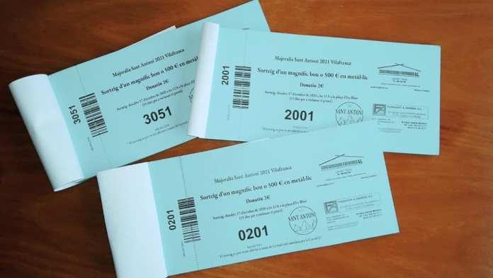 Paperetes del sorteig del Bou de Sant Antoni 2021 a Vilafranca