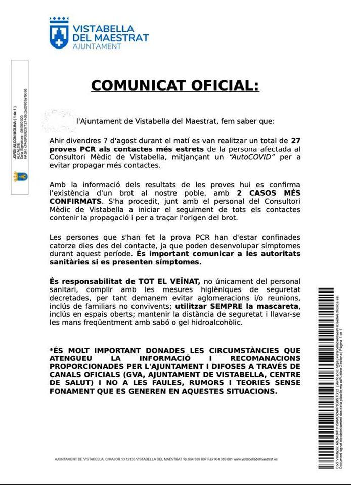 Nou comunicat de l'Ajuntament de Vistabella