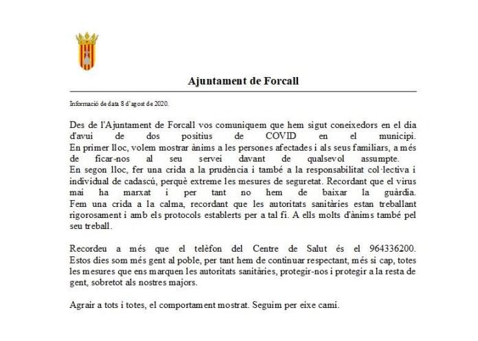 Comunicat de l'Ajuntament de Forcall al voltant dels positius per coronavirus
