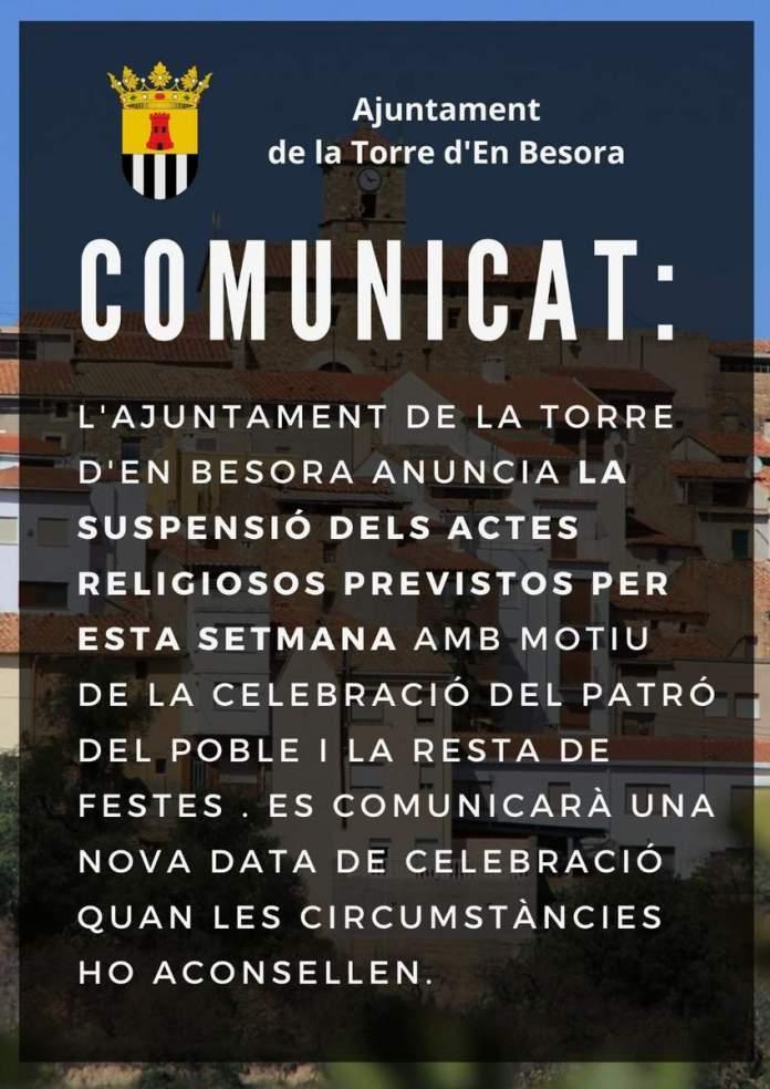 Comunicat de l'Ajuntament de La Torre d'en Besora