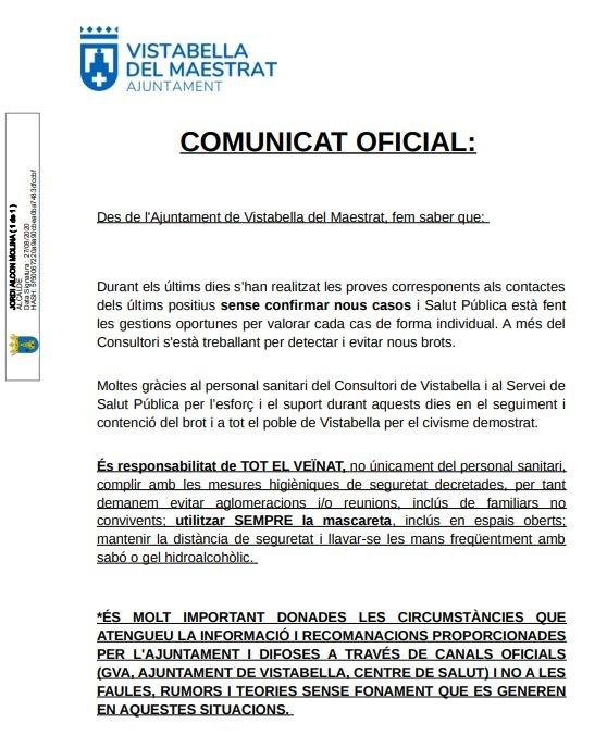 Comunicat de l'Ajuntament de Vistabella