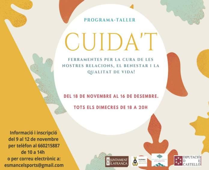 Cartell programa-taller Cuida't a Vilafranca