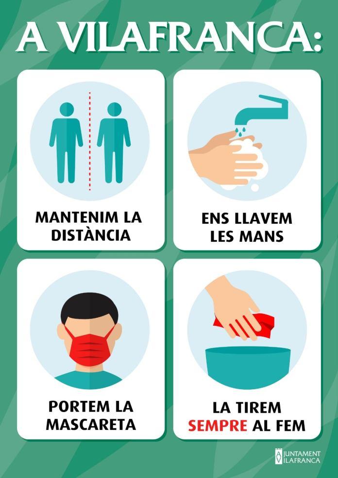 Cartell de prevenció del coronavirus a Vilafranca