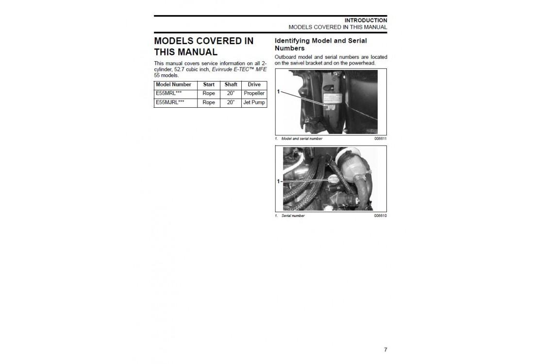 Service Manual 2008 Evinrude E-tec MFE 55 Hp (p/n 5007537)