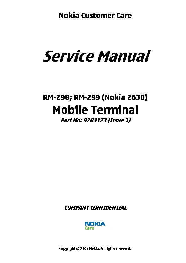 Nokia 2630 Nokia 2630 pdf Diagramas de Celulares