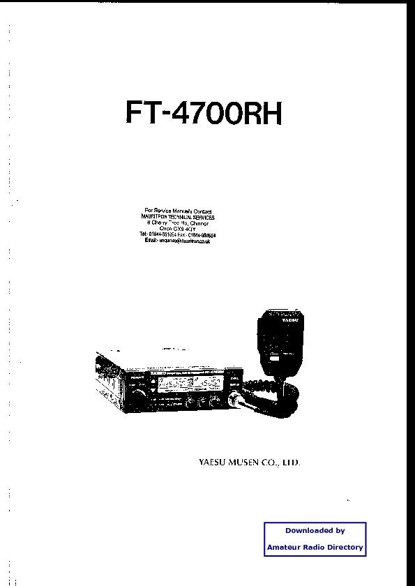 YAESU Yaesu Ft 4700rh pdf Diagramas de radio comunicacion