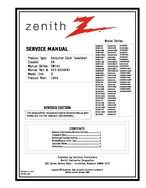 SANSUNG Zenith B25 27A11 Chasis CA pdf Diagramas de ccd-tv