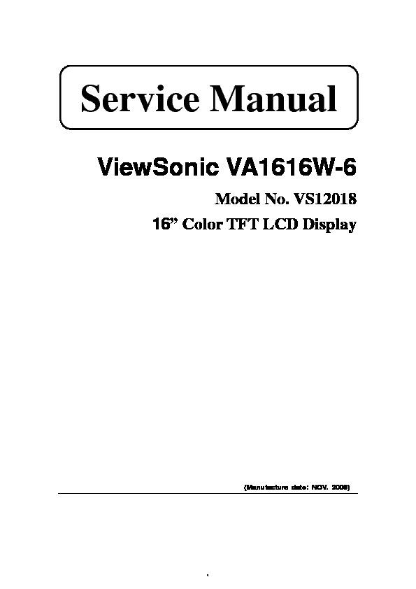 Viewsonic Model No VS12018 pdf VA1616W 6 Model No VS12018