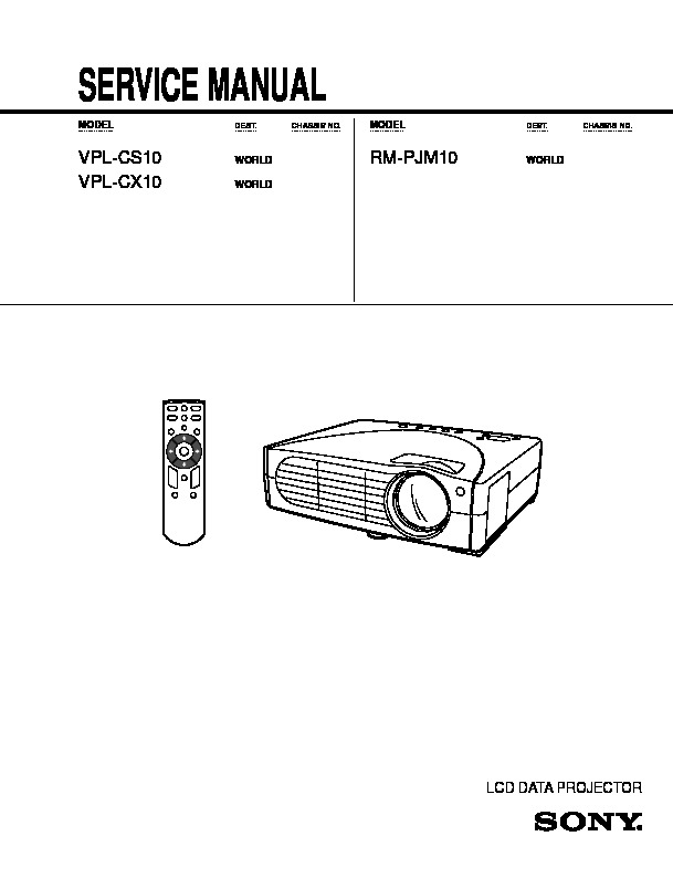 Sony VPL CS10 VPL CX10 CS10 pdf Diagramas de proyectores