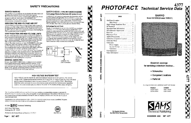 SANYO Sanyo AVM 1909S Chasis G6E 1909S pdf Diagramas de