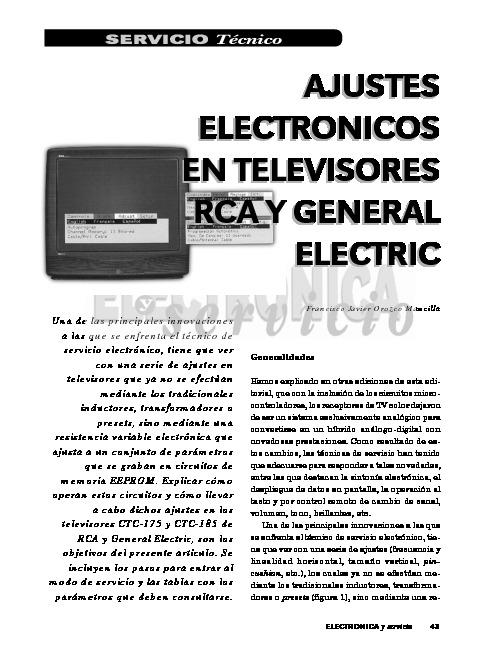 GENERAL ELECTRIC RCA CTC175 Ajustes electronicos tv RCA