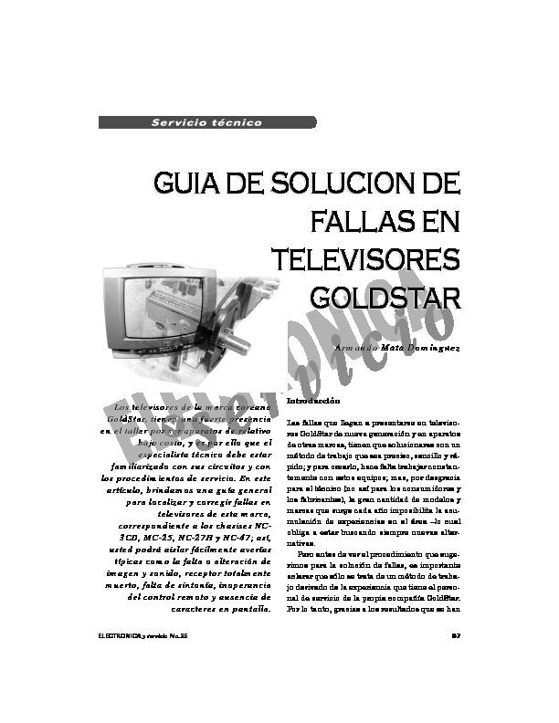 GOLDSTAR Goldstar guia de soluciones de fallas en tv