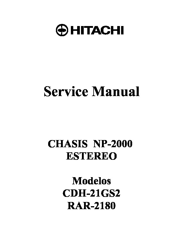 HITACHI CDH 29GS2 Service Manual NP 2000ST pdf Diagramas