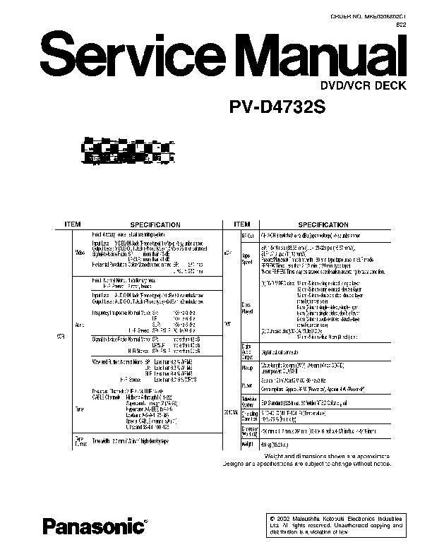 Panasonic PV D4732 PV D4732S pdf Diagramas de dvd blue ray