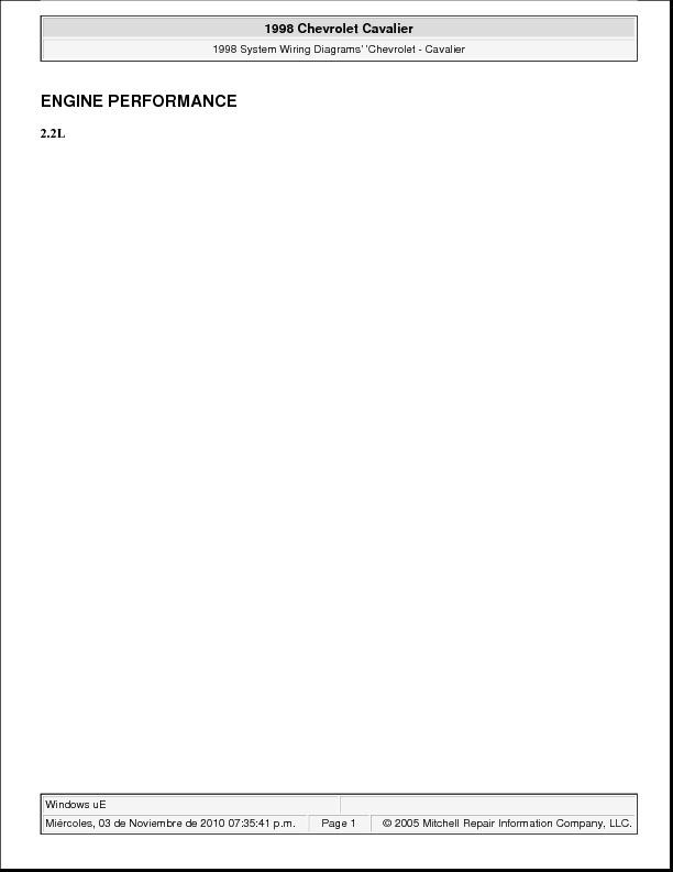 CHEVROLET Cavalier 98 2.2L y 2.4L pdf Diagramas de autos