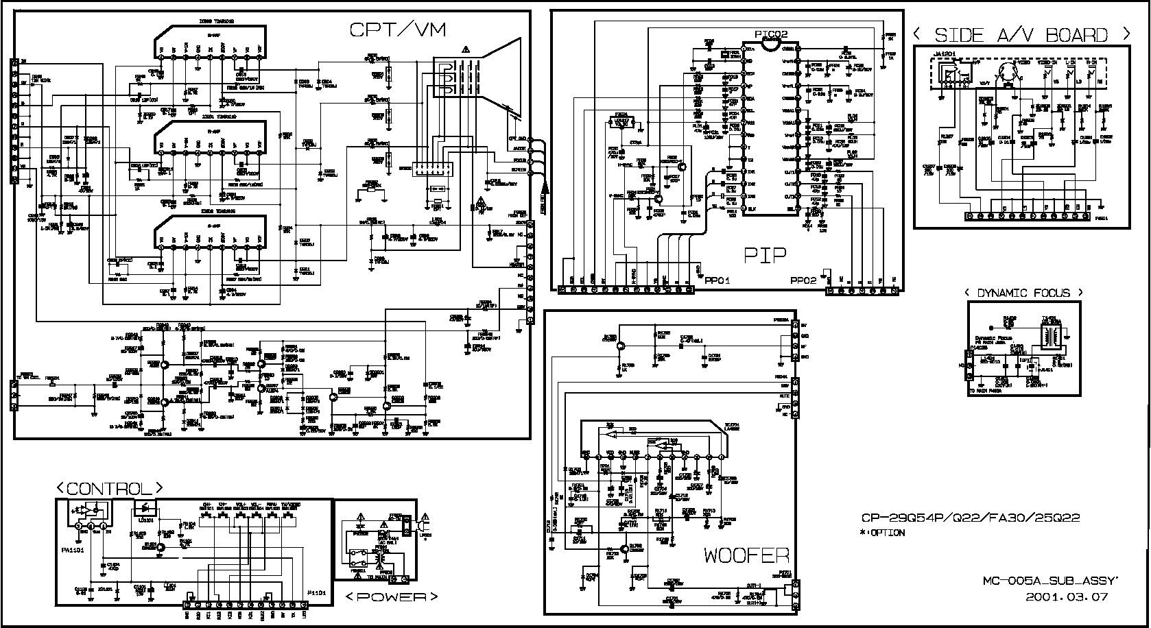 LG GOLDSTAR CP 29Q54 MC 005A q54CP29Q54 pdf Diagramas de