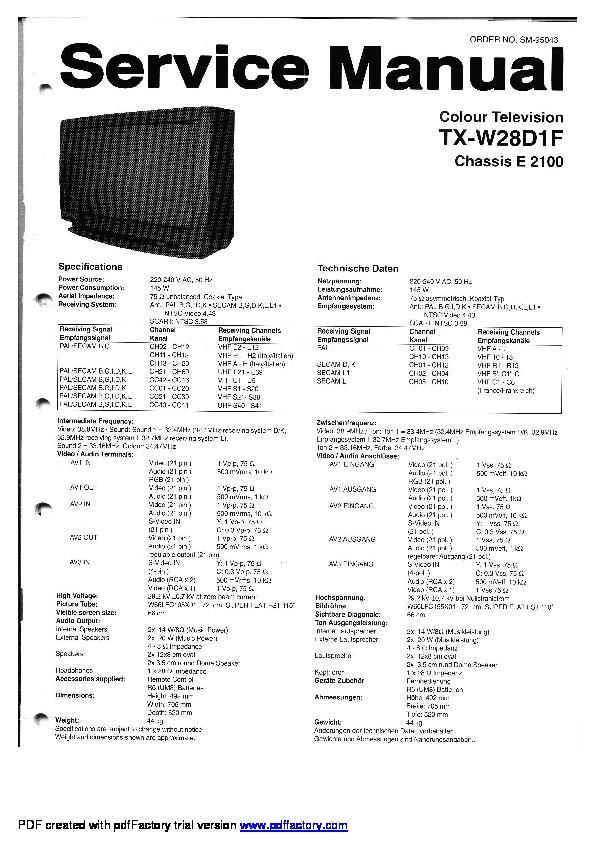 National Panasonic TX W28D1F TV Panasonic TX W28D1F
