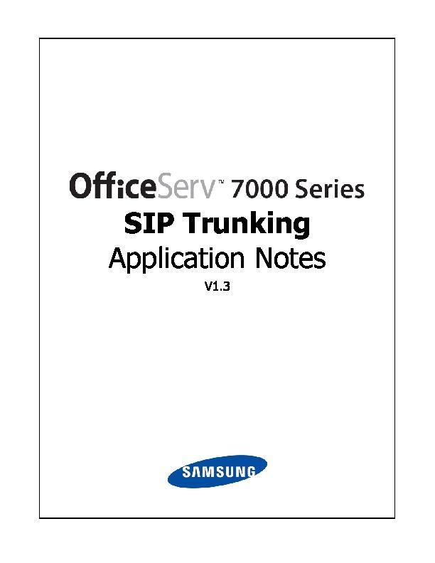 Samsung OS 7000 SIP Trunking App v1 3 pdf Diagramas de