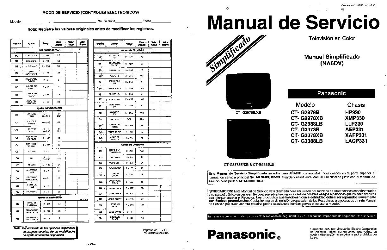 Panasonic CT G2978B pdf Diagramas de Televisores Lcd y