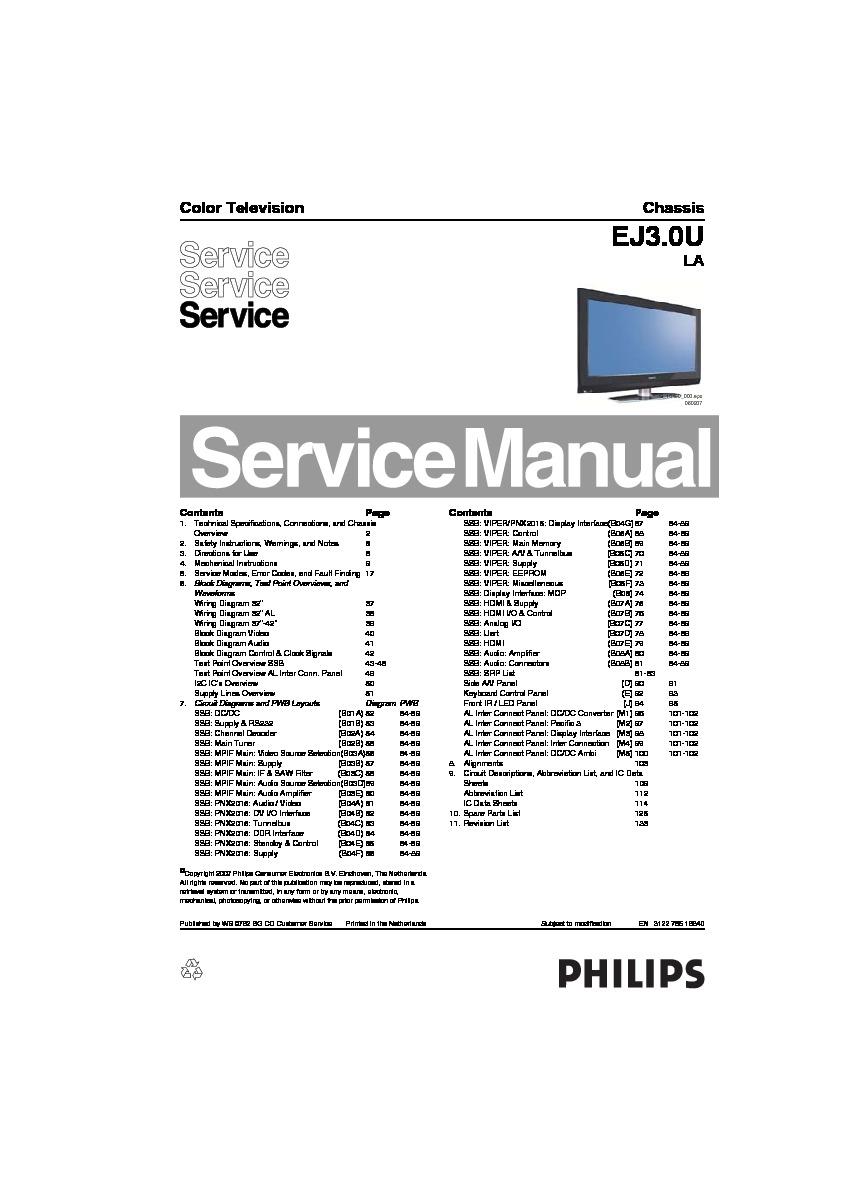 Philips 32PFL5322D37 / 32PFL5332D37 . e outros EJ3.0U LA