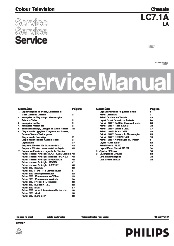 Philips PHILIPS 42PFL5332 Chassis LC7.1A LA pdf Diagramas