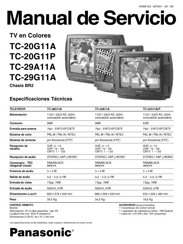 Panasonic TC 20 29G11A P MS pdf Diagramas de Televisores