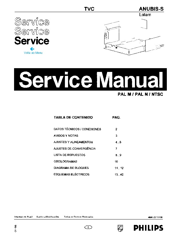 PHILIPS Chassis Anubis S Manual simple pdf Diagramas de