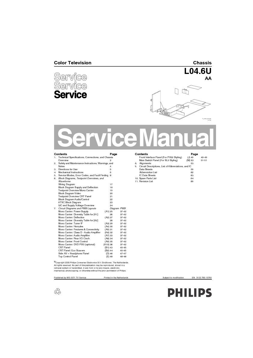 PHILIPS Philips 27RF50S Chasis L04.6U AA pdf Diagramas de