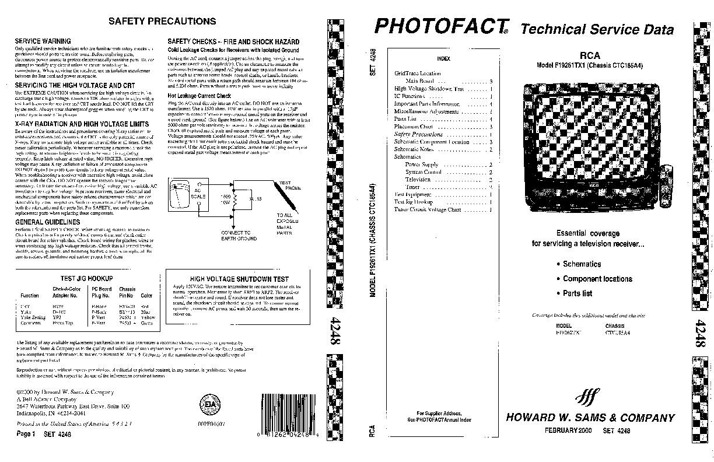 RCA RCA F19262TX1 Chassis CTC185A4 pdf Diagramas de