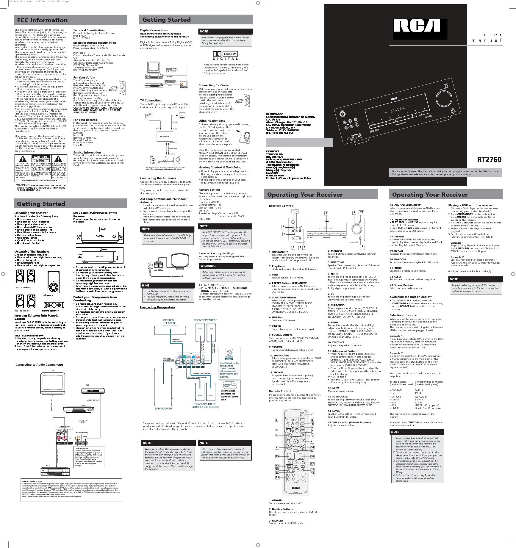 RCA RT2760 UMEN pdf Diagramas de home theater