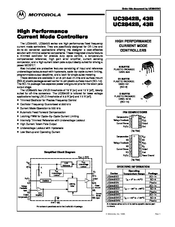 Motorola uc3842 pdf Diagramas de hoja de datos datasheet