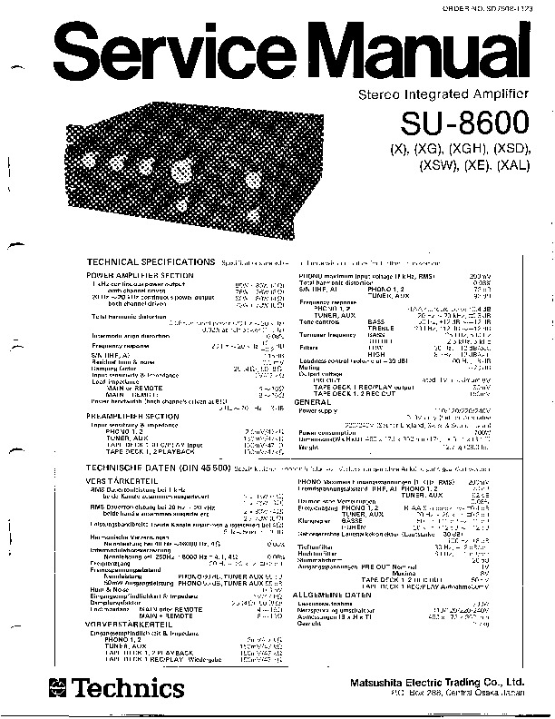 TECHNICS Technics SU 8600 pdf Diagramas de AUDIO