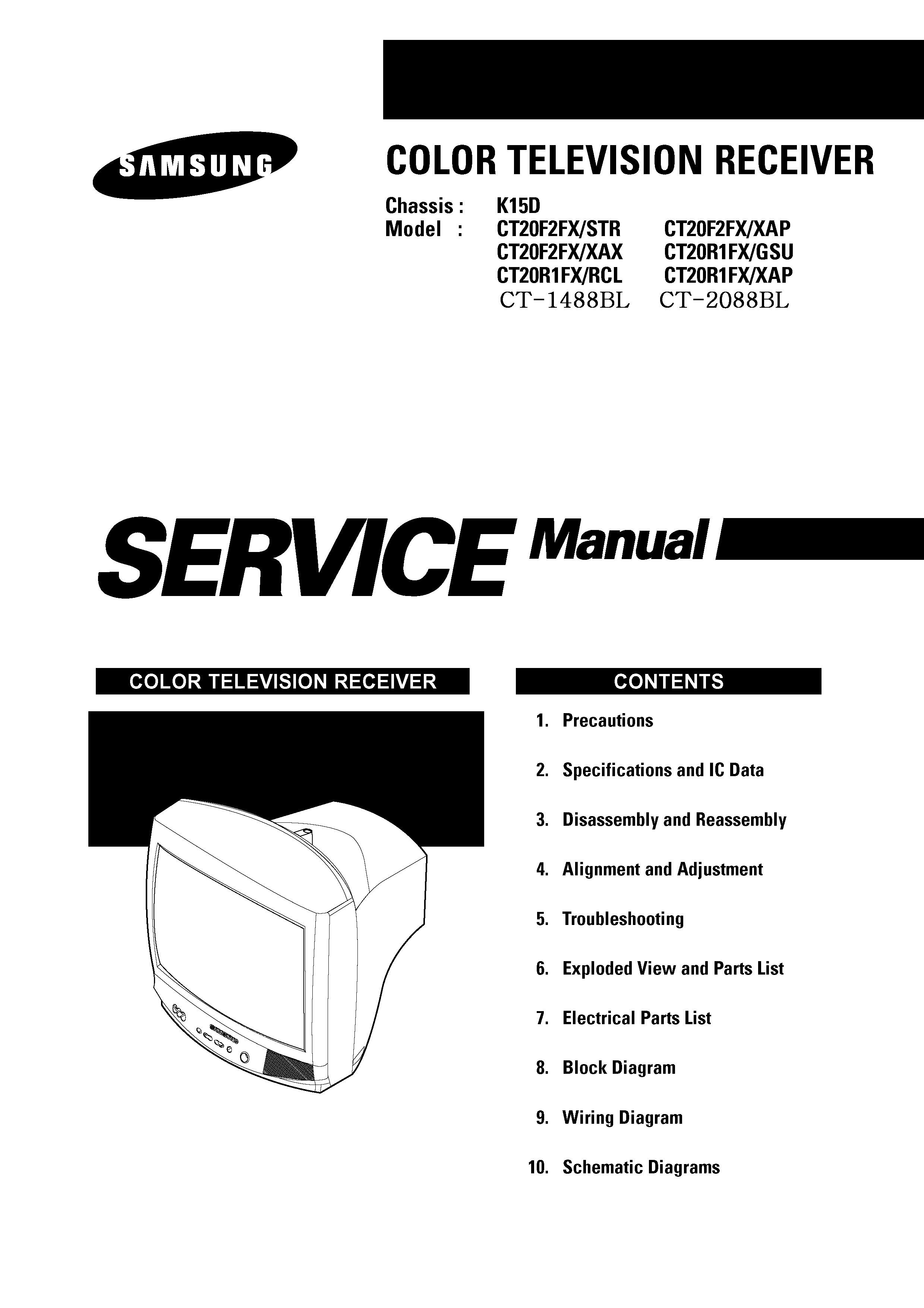 SAMSUNG Samsung ct2088 samsung ct 2088blct 20f2fxk15d pdf