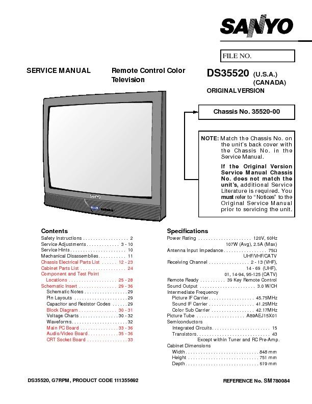 SANYO DS 35520 DS 35520 pdf Diagramas de Televisores Lcd y