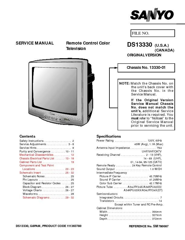 SANYO DS13330 G8PAM pdf Diagramas de Televisores Lcd y