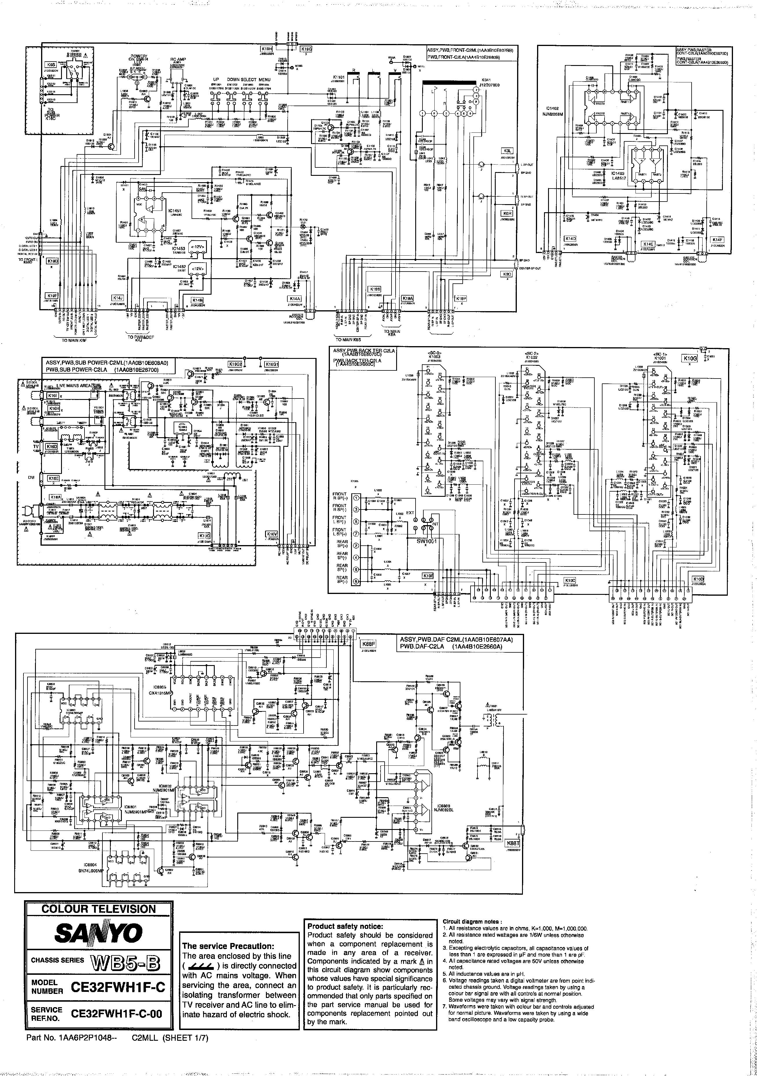 SANYO 32fwh1f c Sanyo 32fwh1f c pdf Diagramas de