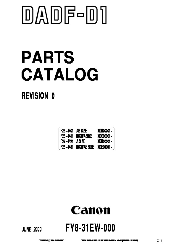 Canon d1 DADF D1 Parts Catalog pdf Diagramas de copiadoras