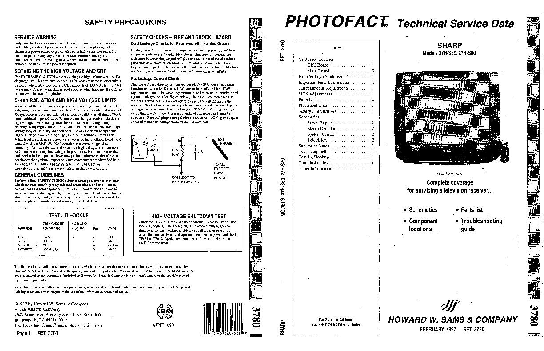 SHARP SHARP 27H S60 pdf Diagramas de Televisores Lcd y